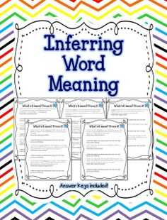 1st - 2nd Grade - Finding Proof - Citing Evidence - Inferring Word Meaning (intervention for 3rd)