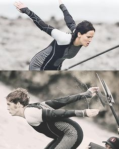 Jen and Sam jumping off the platforms during the arena scene in 'Catching Fire'