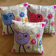 cute bird pincushions with text fabric