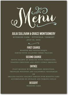 A unique wedding reception menu card featuring custom fonts and colors.
