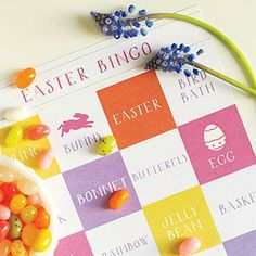 Printable Easter Bingo | Keep the kids entertained with a round of our Easter Bingo, using jelly beans as the markers. Print your own Easter Bingo cards at southernliving.com/bingo. | SouthernLiving.com
