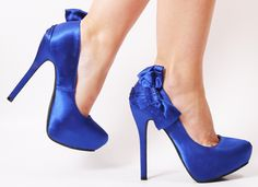 Something blue! Royal blue satin wedding shoes with a 5 1/2-inch high