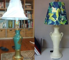 "Lamp Redo! Spray-paint the base (the new color is ""acorn""). Use a hot glue gun to glue fabric around the old shade. I found this colorful blue/green fabric on clearance at Jo Anns."