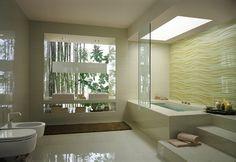 Cream wave bathroom tile stepped bathtub