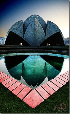 The Bahá'í House of Worship in New Delhi, India, popularly known as the Lotus Temple