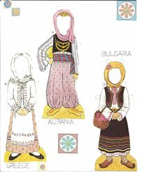 Traditional Folk Costumes of Europe 1 of 10 ALBANIA and BULGARIA and GREECE