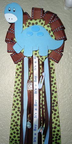 Dinosaur Baby Shower Corsage Large by ChristinaLouCreation on Etsy, $28.00