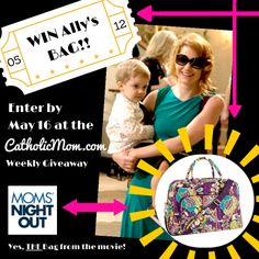 We're giving away the REAL Vera Bradley bag used on the movie set of The #MomsNightOut movie! Enter to win at http://catholicmom.com/2014/05/10/weekly-giveaway-win-allys-vera-bradley-bag-from-moms-night-out/