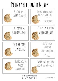 Printable Cookie Themed Lunchbox Notes