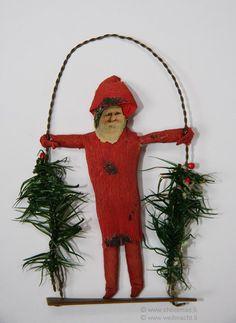Cotton Santa on a Swing