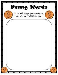 Penny Word Chart:  Penny Words vs. Dollar Words- teaching word choice- Freebie
