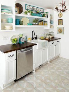 This kitchen floor is gorgeous. #stencilfloor #kitchen