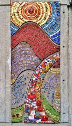 Tribute To Martin Luther King, Jr. - Mosaic by Lilli Ann Rosenberg, (1985), Cambridge Public Library on Franklin Street. DiscoverCambridgeport.com