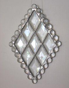Clear Beveled Diamond Stained Glass Suncatcher