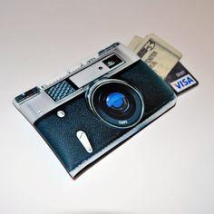 Business Card Case Retro Camera Black Silver Wallet - Debit, Credit, Gift Card Sleeve