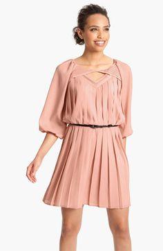 Jessica Simpson Pleated Crêpe de Chine Blouson Dress   #Nordstrom #falltrends