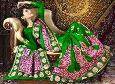 USD 90.94 Green Silk Party Wear Saree 28921
