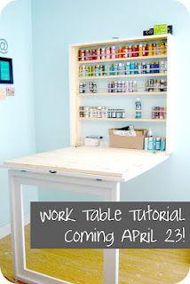 Fold down table open  http://bubblewrappd.blogspot.com/2012/03/workin-it.html