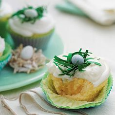 Classic and Indulgent Cupcake Recipes | Pineapple-Coconut Cupcakes with Buttermilk-Cream Cheese Frosting | SouthernLiving.com #cupcake #bake #sweets