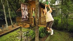cool outdoor ideas for kids - zip line  tree house