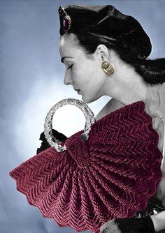 Elegant,1940s Half Moon Fan Crocheted Handbag, Vintage Pattern