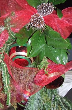 Traditional Red Deco Mesh with Red & Green Ornaments and Pine Cones around Greenery - Christmas Mailbox