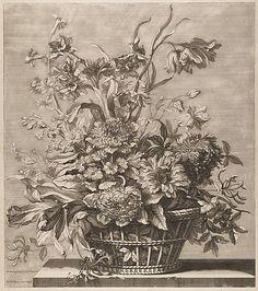 Jean-Baptiste Monnoyer (French, 1636–1699). Basket of Flowers from the Book of Several Baskets of Flowers, Designed and Engraved by Baptiste Monnoyer (Livre de Plusieurs Corbeilles de Fleurs dessiné et gravé par Baptiste Monnoyer), 17th century. The Metropolitan Museum of Art, New York. Rogers Fund, 1920 (20.61.2(48)) #spring