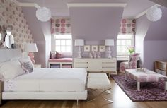 pattern wall colors, interior design, bedroom colors, purple rooms, kid rooms, girl bedrooms, little girl rooms, purple bedrooms, bedroom designs