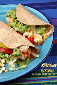 Shrimp Tacos with Avocado Chimichurri Sauce