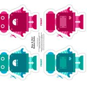 Robot Dolls - Teal and Magenta by jesseesuem, click to purchase fabric