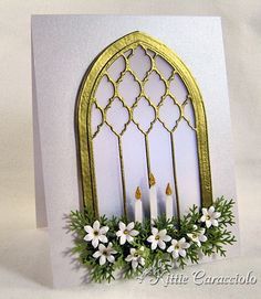 KC Poppy Stamps Grand Gothic Luminary christmas cards, stamp, church windows, arch, gothic luminari, paper crafts, grand gothic, flower, stained glass window cards