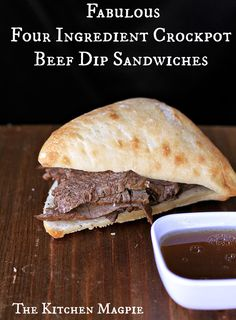 Summer time sandwiches! Make them in the crockpot to keep your kitchen cool! 4 ingredient beef dips!! | The Kitchen Magpie