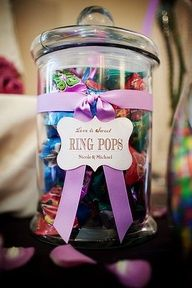 Ring Pops - Perfect for a wedding candy bar! Also love the idea of wrapping a tag around the bowl with the type of candy thats in it. ring pop, jar, wedding showers, ribbon, wedding candy buffet, couple shower, bridal shower games, candi bar, parti