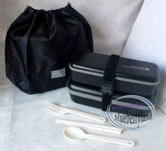 Japan Bento Men's LUNCH BOX Set Chopstick Bag Fork MAN 1000ml