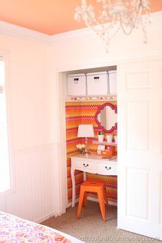 desk space, closets, closet makeovers, closet organization, closet desk, closet office, desk areas, painted ceilings, closet nook
