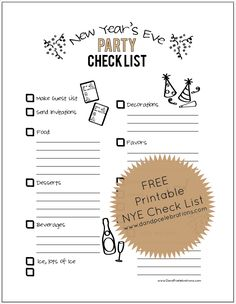 Printable New Years Eve Party Checklist