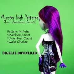 Monster High doll clothes pattern Corsets by DGRequiem on Etsy, $3.00