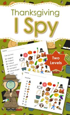 Thanksgiving I Spy games - 2 levels. Created for students with autism and other visual learners. {Created by Adapting for Autism}