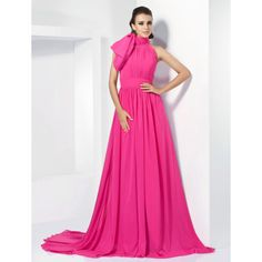 A-line High Neck Chiffon Evening Dress With Court Train inspired by Emma Stone at the 84th Oscar – US$ 178.19