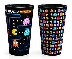 cup, geek, glasses, pac man, pint glass, drink, pacman pint, pints, glass 2pack