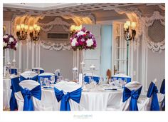 Fuschia, Deep Purple Stock, Rose, Mums, and Hydrangea Centerpieces.  Blackstone Hotel. Deonna Caruso Photography. Sweetchic Events. Flor Del Monte.