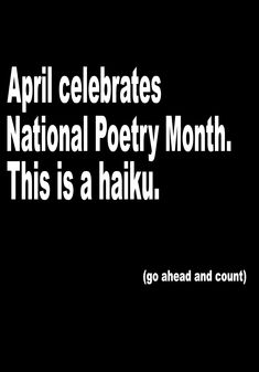 National Poetry Month is here!