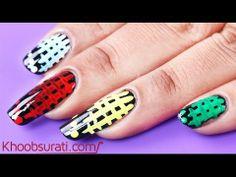 Colorful Checks Nail Art By Khoobsurati.com