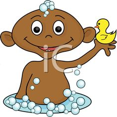 iCLIPART - Royalty Free Clipart Image of a Boy in a Bathtub Playing With a Rubber Duck