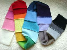 KIDS' RAINBOW Cashmere Scarf Upcycled Patchwork Scarf  Eco Kids Infinity Scarf Option on Etsy, $30.00