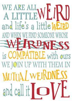 Dr Seuss Weirdness Quote Wall Print Friends Anniversary by ThePrintedCroft, £6.00