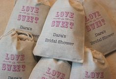 50 Personalized Lavender filled Bridal Wedding Favor Bags - Vintage Love is Sweet Organic Muslin Cotton Gift Bags 3x5