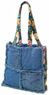 Denim Chic Bag Pattern - Retail $8.00 [OLD119] : Wholesale Purse Patterns, Purse Patterns at wholesale prices for quilting shops, craft stores, and fabric shops. Denim Purses, Craft, Jean Purses, Patchwork Bag, Denim Tote, Denim Bag, Tote Bags, Knitting Bags, Old Jeans