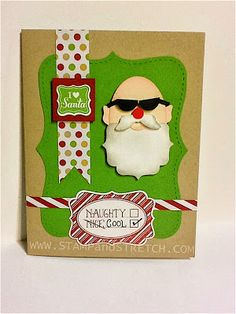 Stampin' Up! Christmas Santa Punch Art by Stamp and Stretch: Topless Santa is Looking Cool!