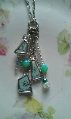 Turquoise/Aqua Broken China Dangle Necklace by Mysticglassduo, $45.00